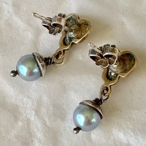 Jewelry - Designer Pearl, Sterling Silver & Copper Earrings